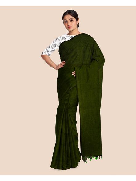 Mercerized Handloom Dark Moss Green Khadi Cotton Saree with Pompom and Blouse Piece-2