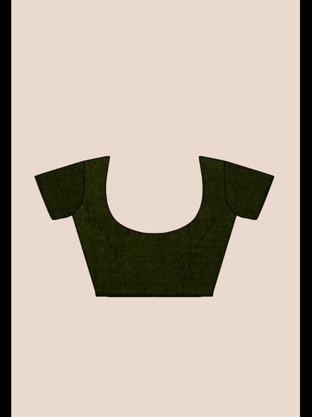 Mercerized Handloom Dark Moss Green Khadi Cotton Saree with Pompom and Blouse Piece-5