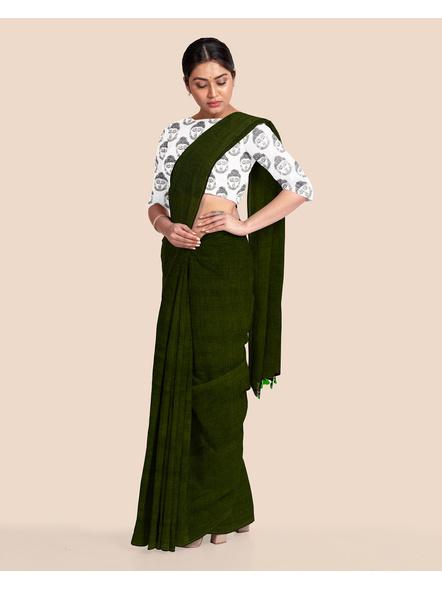 Mercerized Handloom Dark Moss Green Khadi Cotton Saree with Pompom and Blouse Piece-4