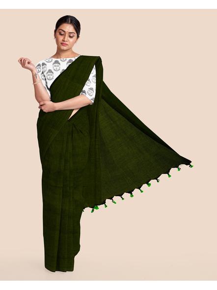 Mercerized Handloom Dark Moss Green Khadi Cotton Saree with Pompom and Blouse Piece-LAAMHCWBP014