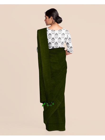 Mercerized Handloom Dark Moss Green Khadi Cotton Saree with Pompom and Blouse Piece-3