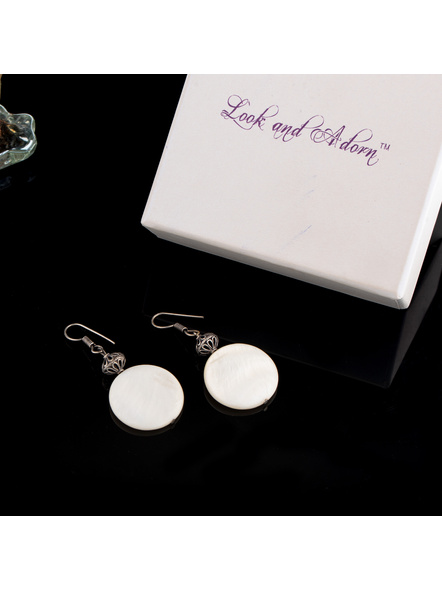 Handmade Mother Of Pearl earring With German Silver Designer Bead-1