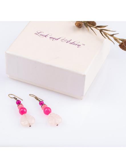 Handmade Designer Rose Quartz leaf  Earring with Agate and Onyx-LAAER220