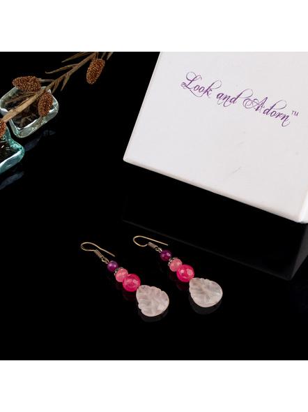 Handmade Designer Rose Quartz leaf  Earring with Agate and Onyx-1