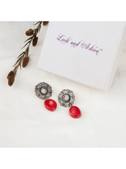 Handmade Designer Floral Stud Earring with Red Sea Coral Bead-LAAER261