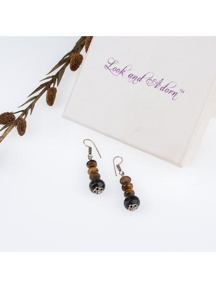 Handmade Designer Semi Precious Onyx and Tiger Eye Bead Earring-LAAER256