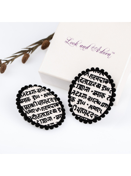 Handmade Designer Black and White Scripted Oval Stud with Black lace Border-LAAER226
