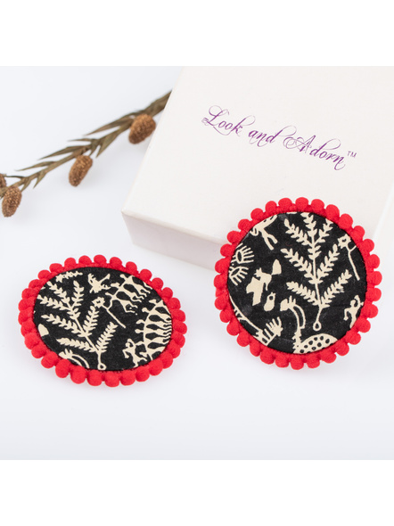 Handmade Black Warli Design Cotton Fabric Stud with Red lace Border-LAAER224