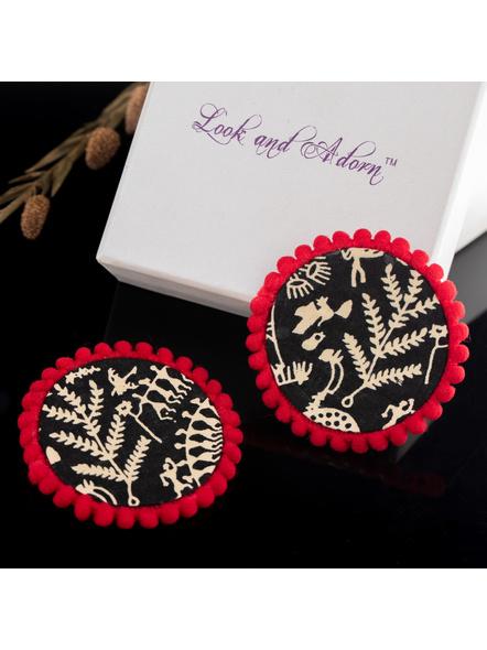 Handmade Black Warli Design Cotton Fabric Stud with Red lace Border-1