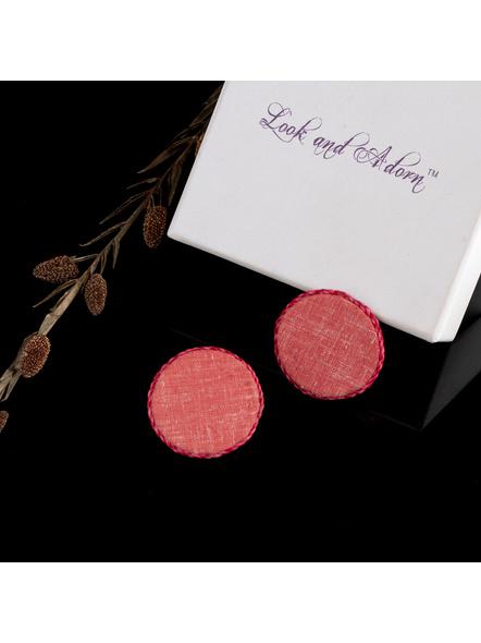 Handmade Peach Circular Khadi Cotton Fabric Stud Earring-1