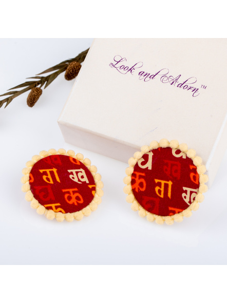 Handmade Hindi Scripted Cotton Fabric Stud with Beige lace Border-LAAER225