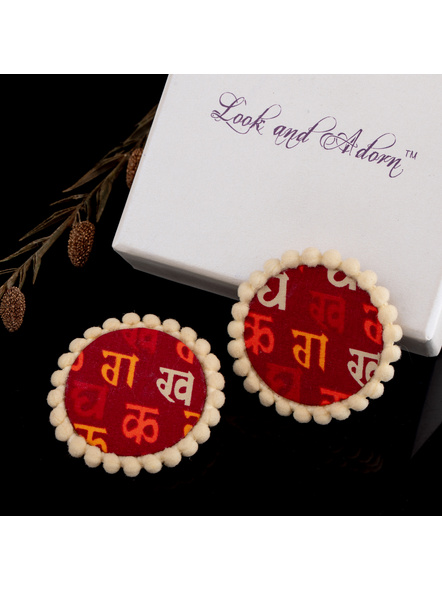 Handmade Hindi Scripted Cotton Fabric Stud with Beige lace Border-1