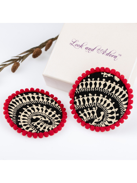 Handcrafted Jumbo Warli Cotton Fabric Stud with Red lace Border-LAAER227