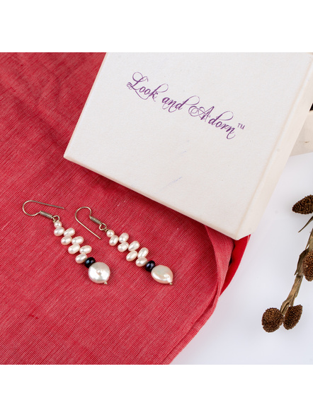Handcrafted Coin Pearl Earring with Fresh Water Pearl-LAAER235