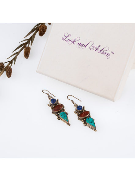 Handcrafted Designer Turquoise Blue Brown stone chips inlaid Tibetan Earring-LAAER249