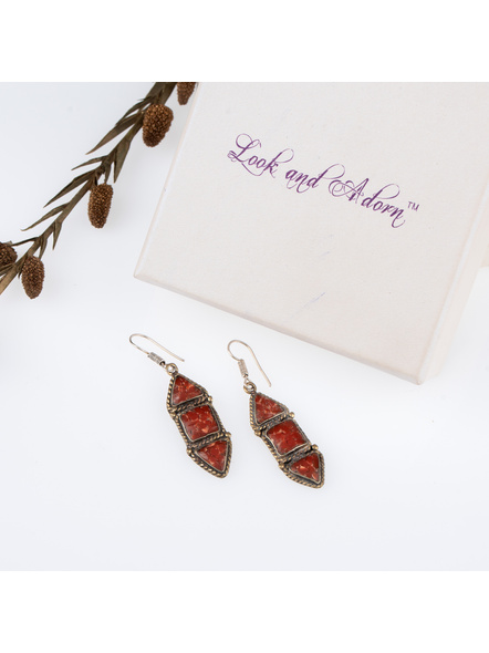 Handcrafted Designer Brown stone Chips inlaid Tibetan Earring-LAAER250