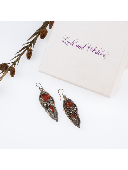 Handcrafted Designer Brown Stone inlaid Tibetan Earring-LAAER251