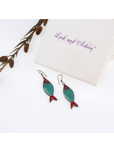 Handcrafted Designer Turquoise inlaid Tibetan Fish Earring-1