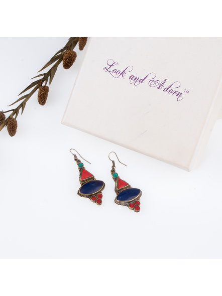 Handcrafted Designer Blue Red Turquoise stone inlaid Tibetan Earring-LAAER253
