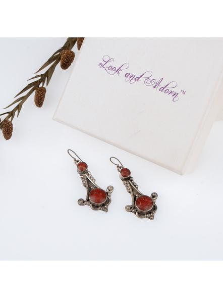Handcrafted Brown Stone inlaid Designer Tibetan Earring-LAAER254