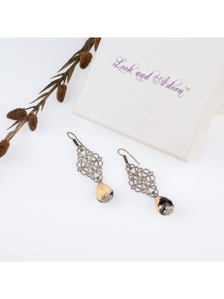 Handcrafted Designer Semi Precious Agate Drop Bead Earring with German Silver Charm-LAAER255