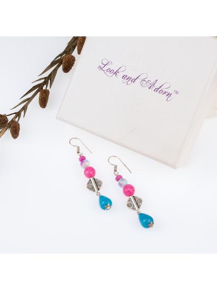 Handcrafted Pretty Semi Precious Blue Drop Dangler Earring-LAAER257