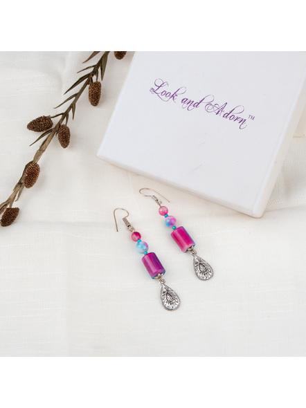 Handcrafted Designer Semi Precious Blue Pink Shaded Dangler Earring-LAAER258