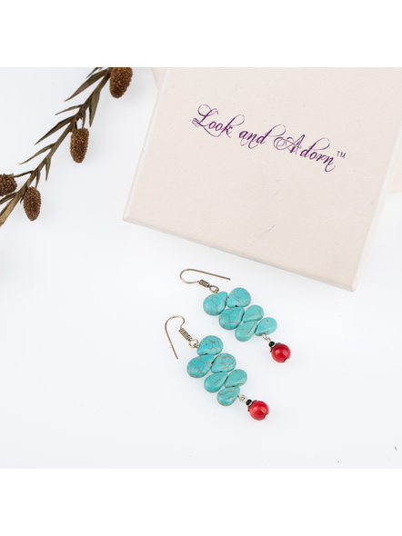 Handcrafted Semi Precious Turquoise Drop Earring-LAAER244