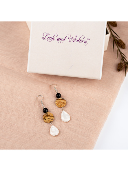 Handcrafted Semi Precious Mother of Pearl Jasper and Agate Earring-LAAER241