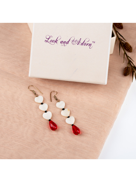 Handmade Beautiful Heart Shaped Mother of Pearl Dangler with Red Drop Crystal-LAAER240