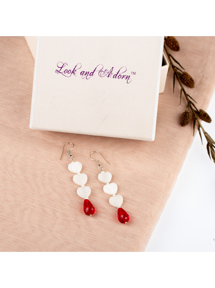 Handmade Beautiful Heart Shaped Mother of Pearl Dangler with Red Drop Crystal-LAAER239