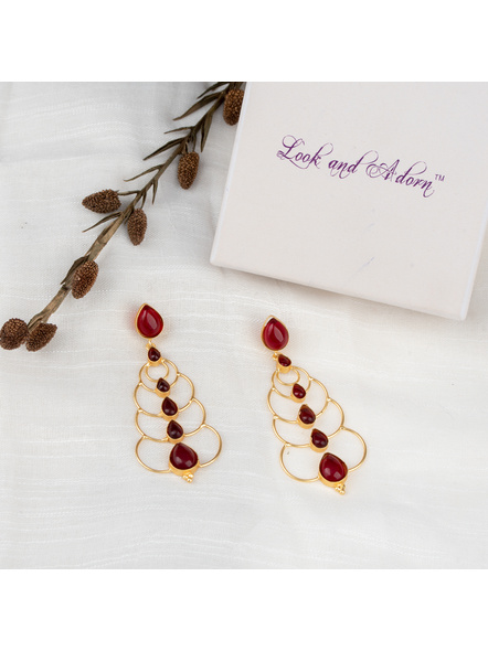 Handcrafted Beautiful Reddish Stud Dangler Earring in Brass Frame-LAAER231