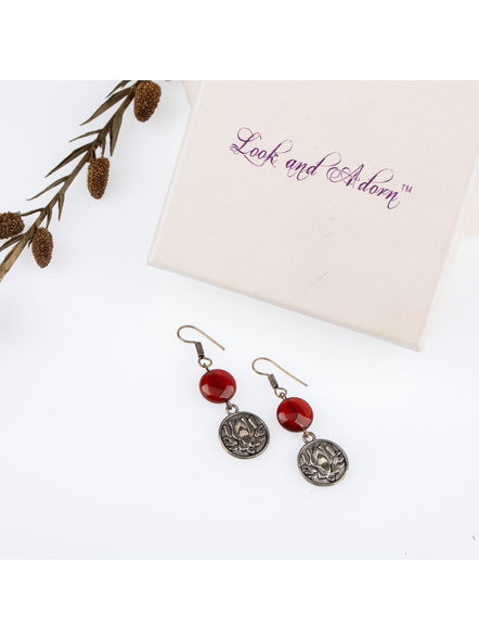 Handcrafted Designer Lotus Charm Earring with Brown Agate Coin Bead-LAAER245