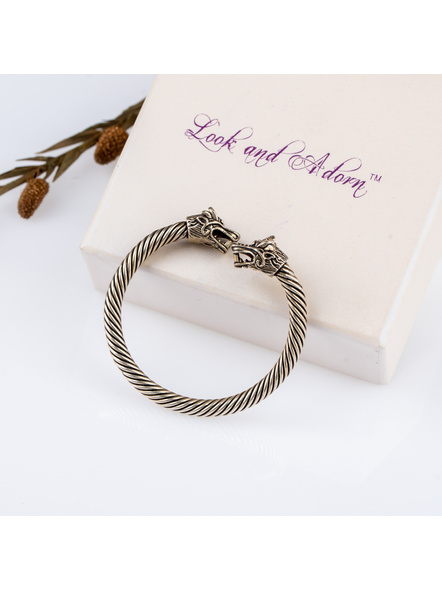 Handcrafted Designer German Silver Dragon Faced Twisted Open Bangle-LAANSBG001