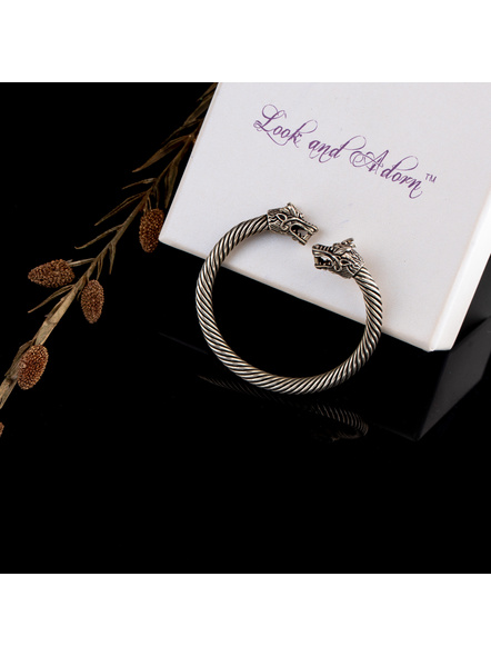 Handcrafted Designer German Silver Dragon Faced Twisted Open Bangle-1