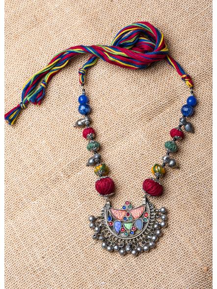 Handmade Afghan Pendant with Thread Balls and Semi Precious Stones-1