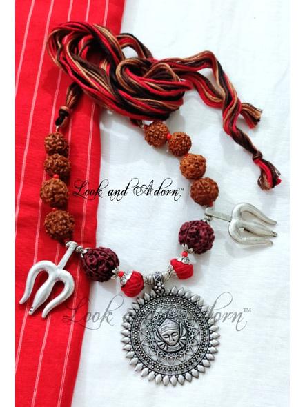 Handcrafted Devi Trishul Neckpiece with Rudraksh and Adjustable Tassle-LAADRNLS20