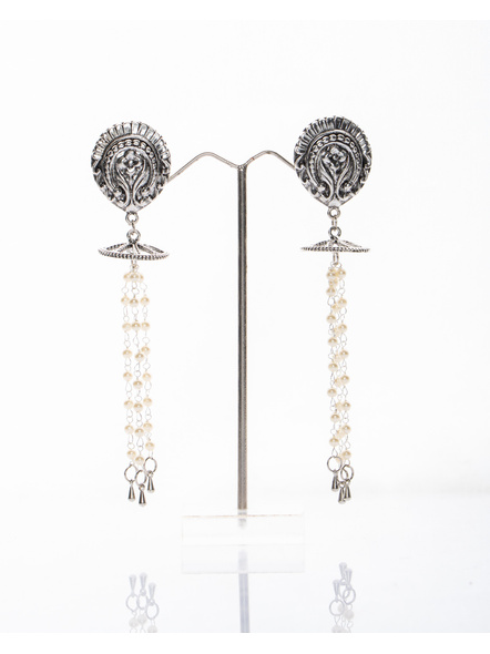 Handmade Designer German Silver Floral Stud Dangler with Round frame and Pearl Chain with Metal Drop-LAAER263