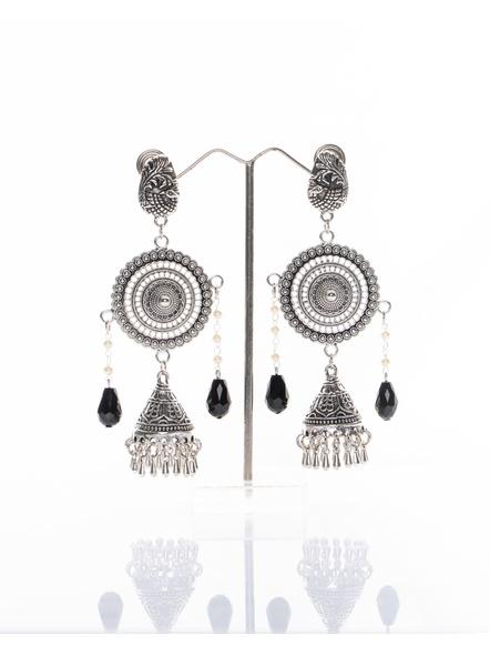 Handmade Designer German Silver Peacock Stud Dangler Cone Jhumka with Round Chakra frame , Pearl Chain and Black Drop Crystal-LAAER264