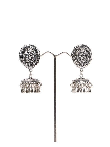 Handcrafted Designer German Silver Floral Stud with Metal drop Jhumka-LAAER265