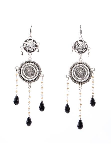 Handmade Designer German Silver Chakra Dangler Earring with Pearl chain and Black Crystal Drop-LAAER267