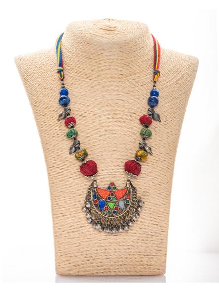 Handmade Afghan Pendant with Thread Balls and Semi Precious Stones-LAANSNL008