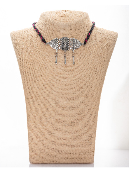Handmade Designer German Silver Choker with Silver Drop  and Adjustable Black Fuschia Pink Dori-LAANSNL009