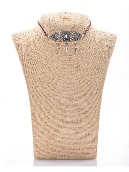 Handmade Designer German Silver Choker with Silver Spike and Adjustable Red Black Grey Dori-LAANSNL011