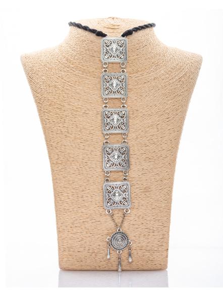 Handcrafted Designer German Silver Sleek Pendant Neckpiece with Round, Square frame and Adjustable Black Tassle-3