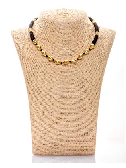 92.5 Pure Silver Dholki Neckpiece with Black Thread - 22k Gold Polished-LAA-NL-038