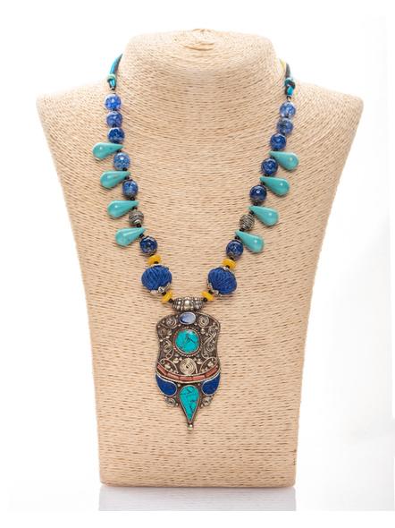 Handmade Tibetan Pendant with Turquoise Drop Onyx and Cotton Thread-1