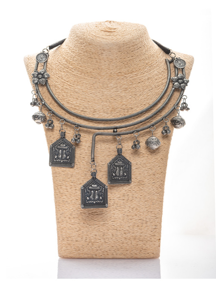 Handcrafted Designer 3 layered Devi footprint Pendant Neckset with Ghungroo Adjustable Tassle and Earring-LAANSNLS010