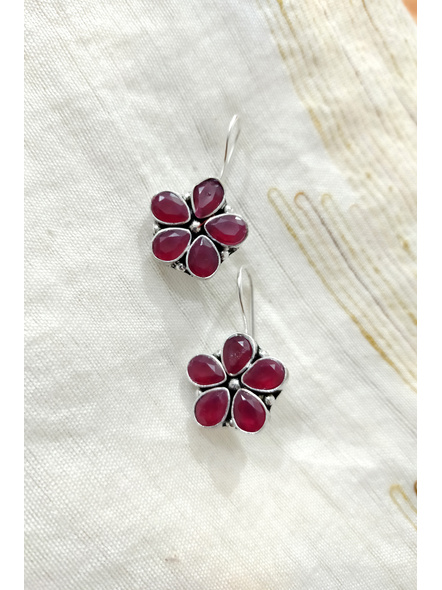 Handcrafted Maroon Stone Inlaid Floral Dangler-1