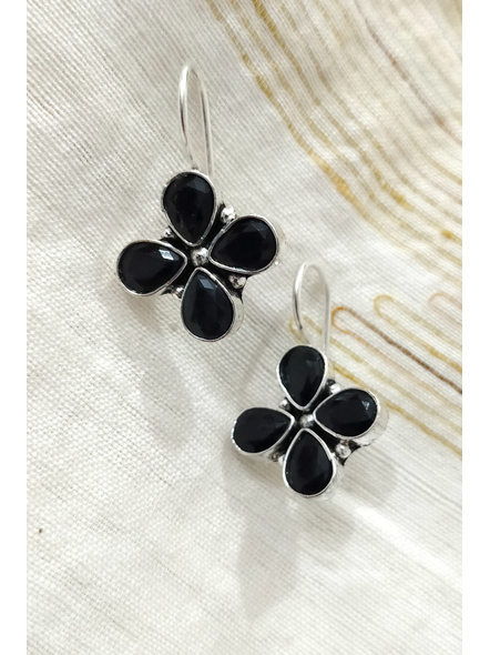 Handcrafted German Silver black stone inlaid Floral Dangler-1